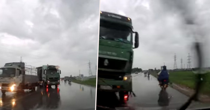 Footage shows truck swerving dangerously.