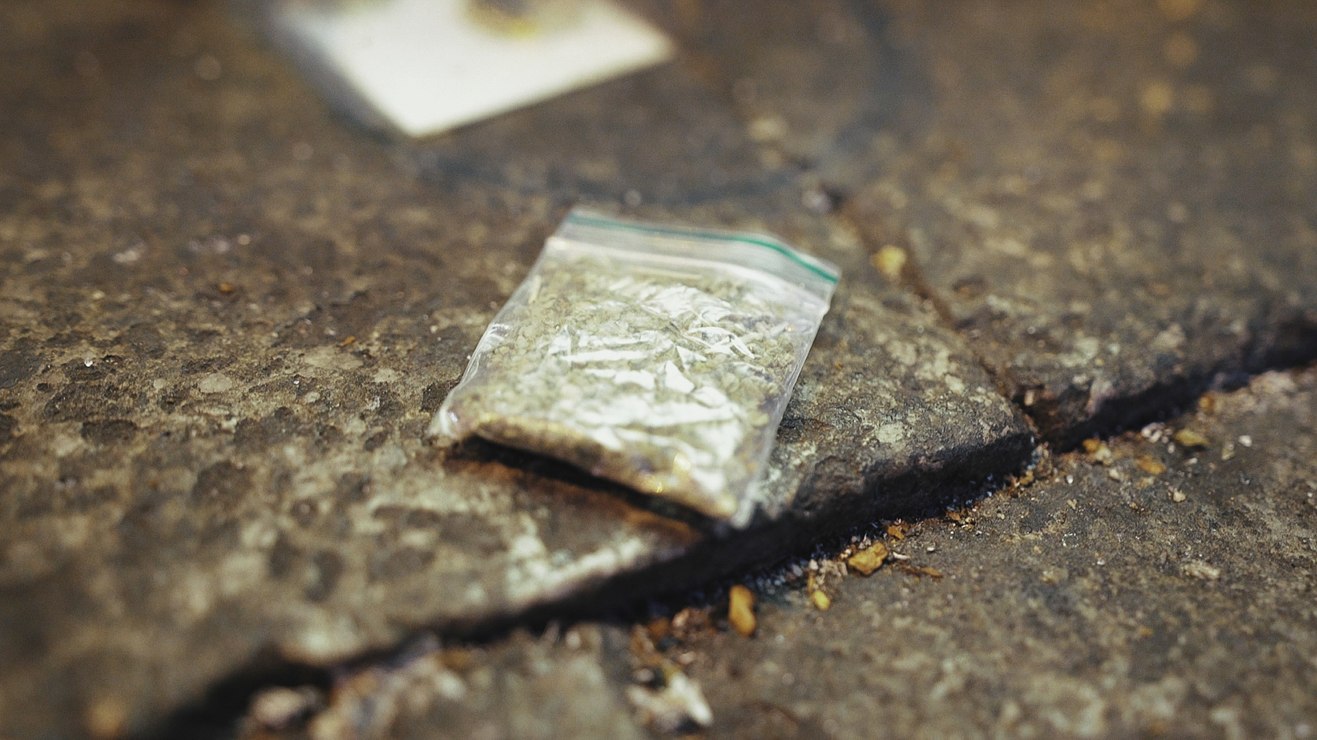 A baggie of spice on the street