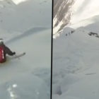 Guy Gets Buried Alive By Avalanche When Skiing Down Mountain