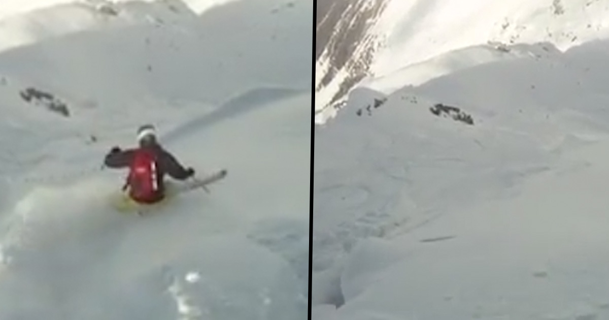 Skier fights avalanche