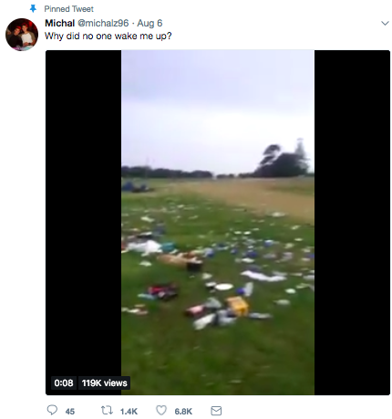 Tweet about guy who woke up in festival to find everyone gone