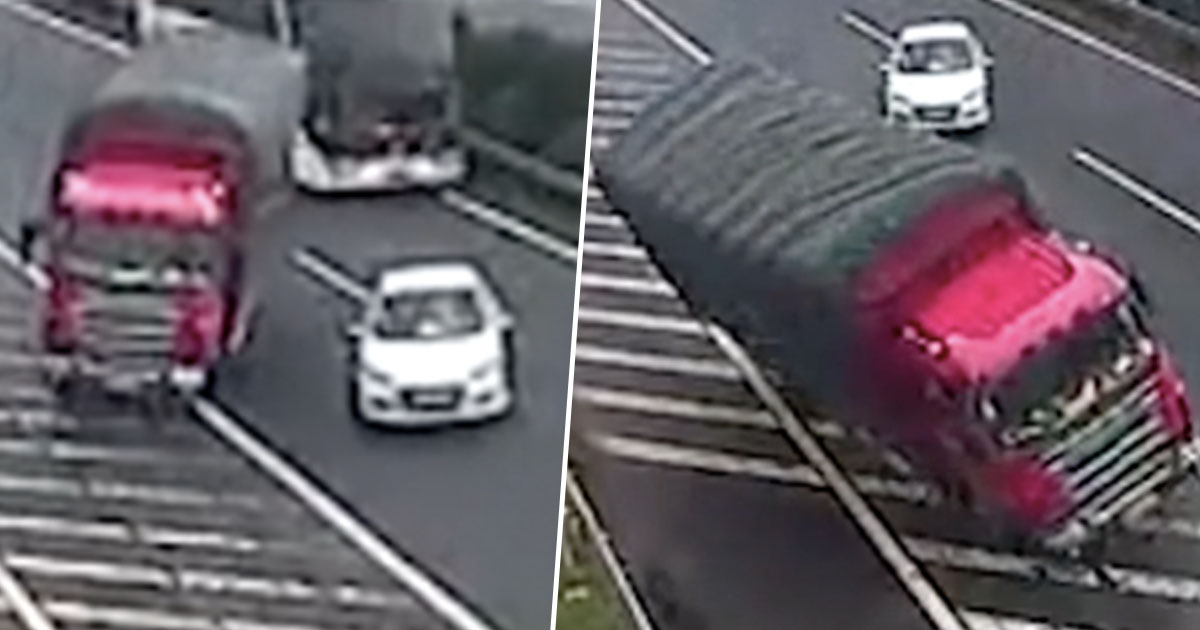 Driver Stops In Middle Of Busy Road After Missing Exit, Causes Lorry Crashes