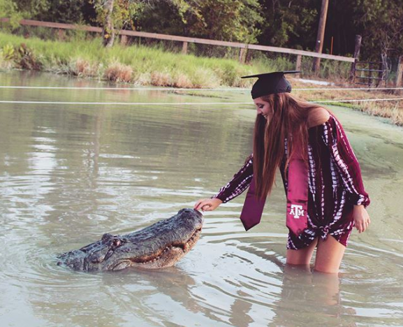 Makenzie Noland with alligator