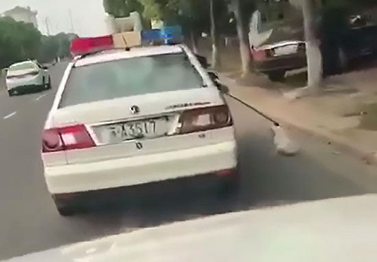 Police drag dog alongside car