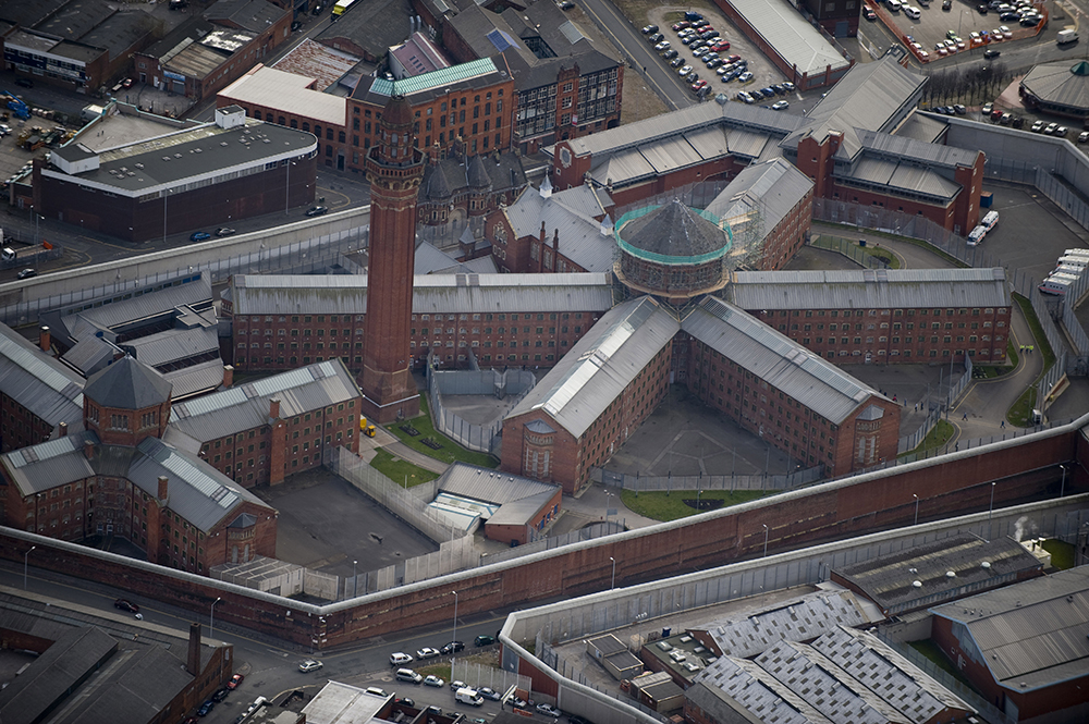 Aerial view of HMP Manchester Prison, know as Strangeways