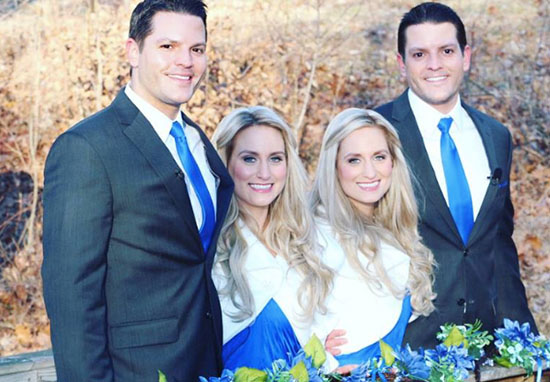 Identical twin sisters marry brothers