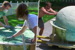 Friends create the world's biggest bath bomb.
