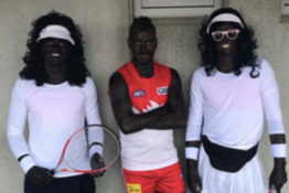 Footballers do blackface.