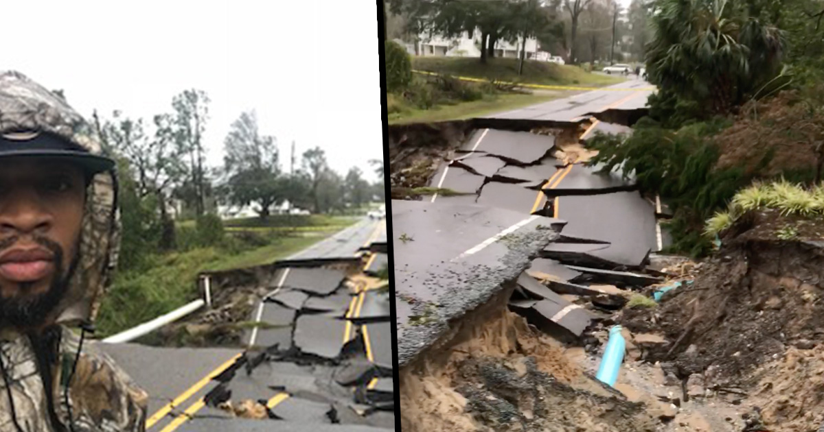 Cracked road aftermath Hurricane Florence