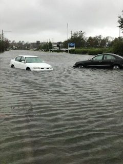 Cars floating in water after Hurricane Florence
