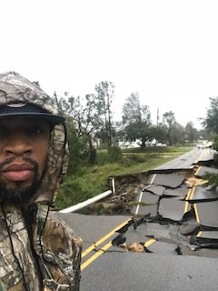 Gerald and the cracked road after Hurricane Florence