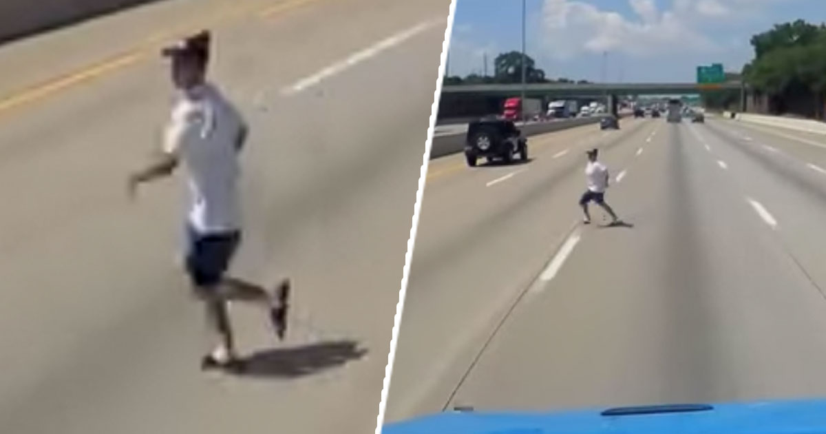 Man runs onto motorway