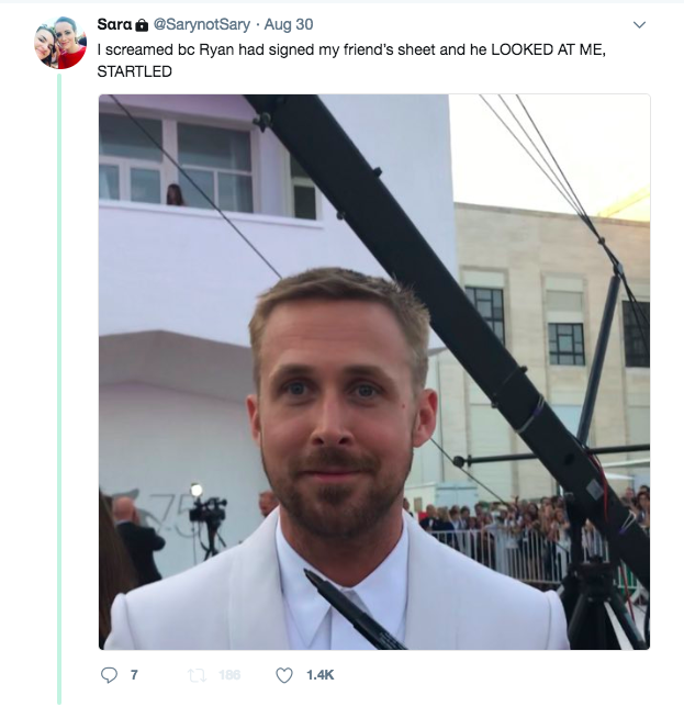 RYAN GOSLING STARTLED FAN