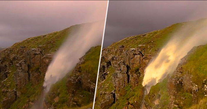 Stunning Video Shows Waterfall Being 'Reversed' By Storm Helene
