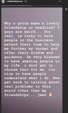 Millie Bobby Brown speaks out.
