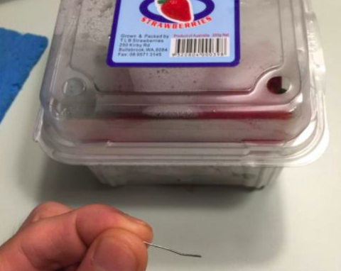 Needles found in strawberries in Singapore.