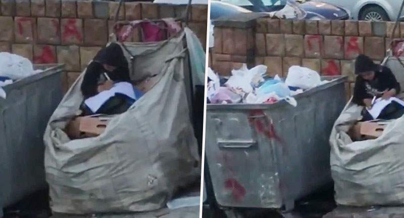 Syrian Refugee Does Homework In Rubbish