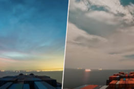 Video shows sea voyage time lapse.