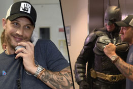 Tom Hardy poses with Batman.