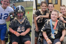 Boy with cerebral palsy scores first ever touchdown.
