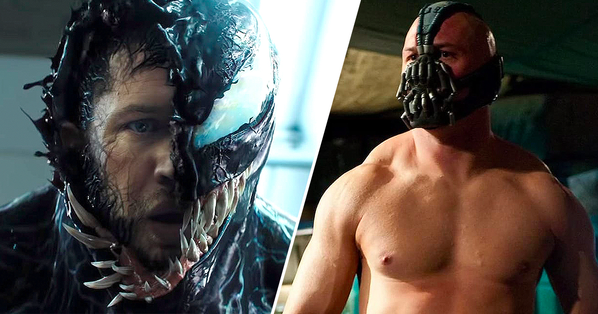 Tom Hardy as Venom and Bane, face cover in both comic adaptations