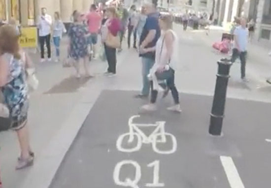 Guy used air horn to get people out of bike lane