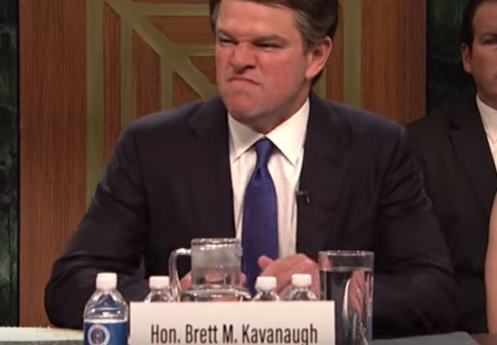 Matt Damon as Brett Kavanaugh on SNL