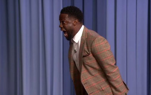 Kevin Hart trying to breathe on the spider
