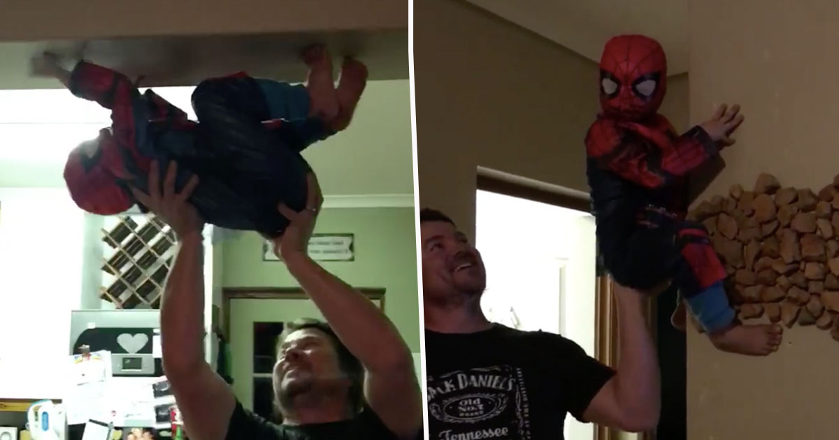 boy dressed as spiderman