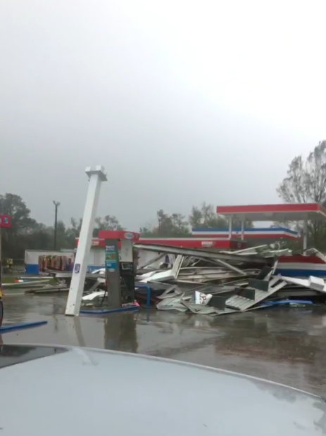 Petrol station wrecked following Hurricane Florence