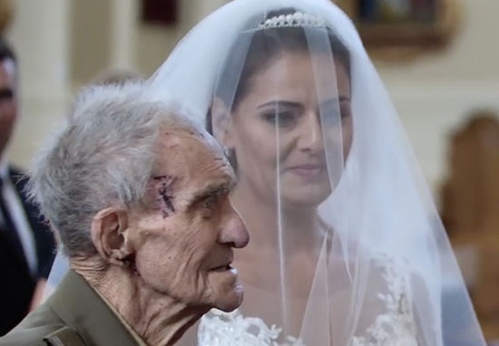 WWII hero walks granddaughter down aisle