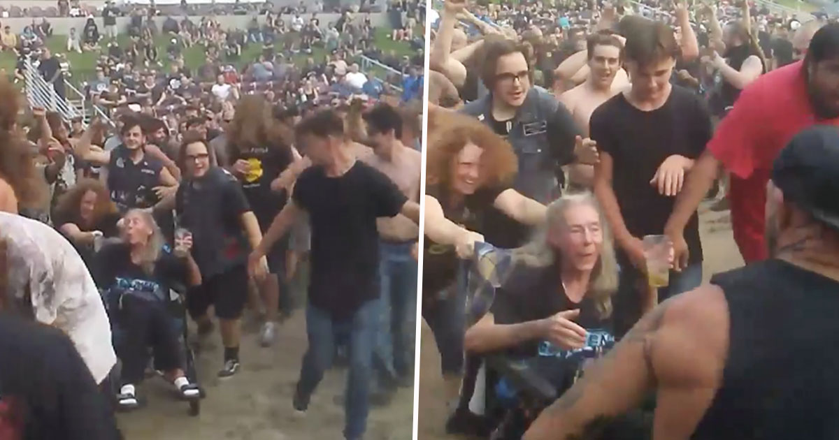 lady in wheelchair in mosh pit