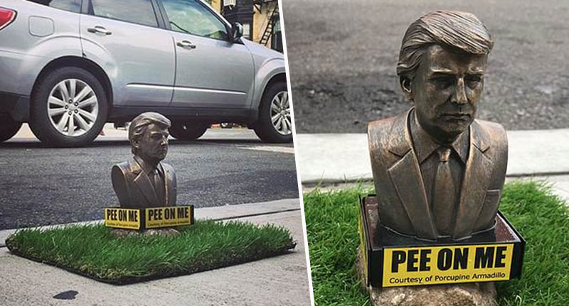 Tiny Trump Statues Inviting Dogs To Wee On Them Appear Across Brooklyn