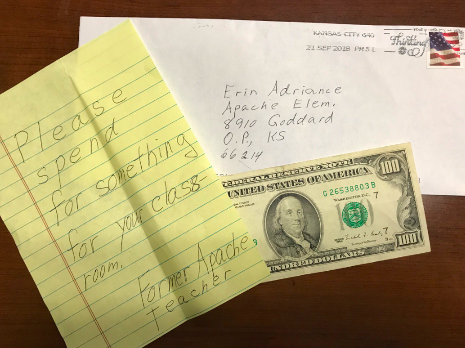 erin teacher anonymous donation