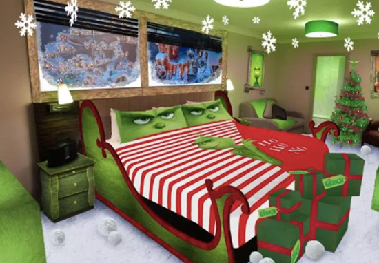 Grinch themed hotel room