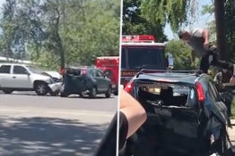 Driver Smashes Into Car And Stamps On Roof