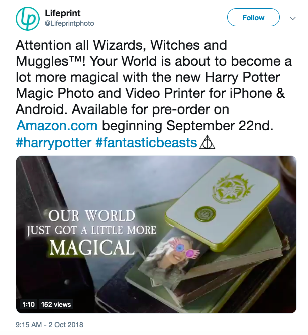 Lifeprint Tweet Harry Potter