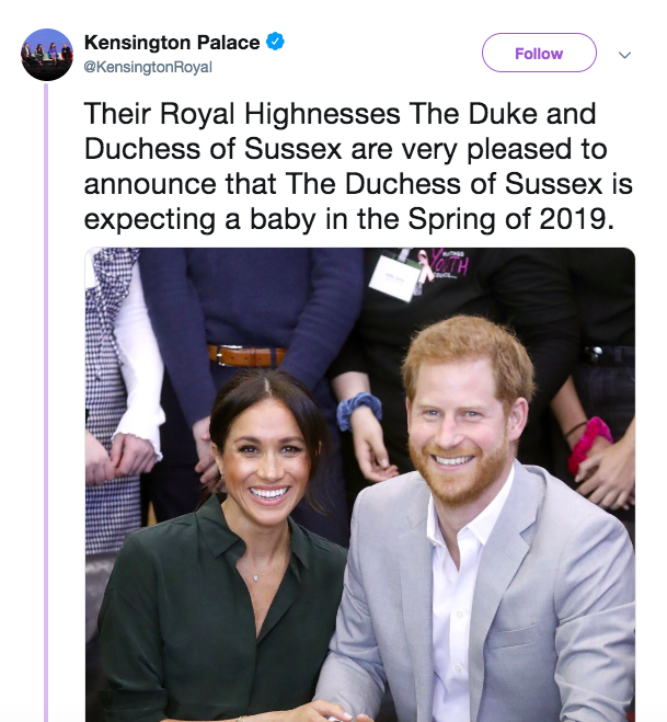 Prince Harry and Meghan announce they are expecting a baby.