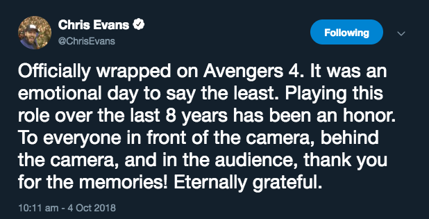 Chris Evans Twitter CaptaiN America resignation