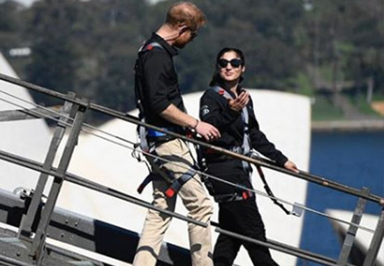 Prince Harry grieving woman Sydney Bridge climb
