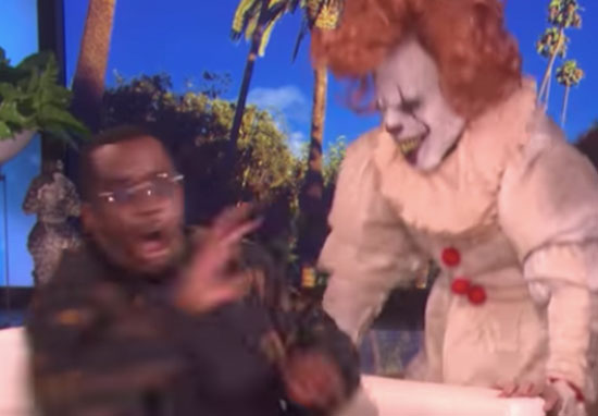 Diddy scared by clown Ellen