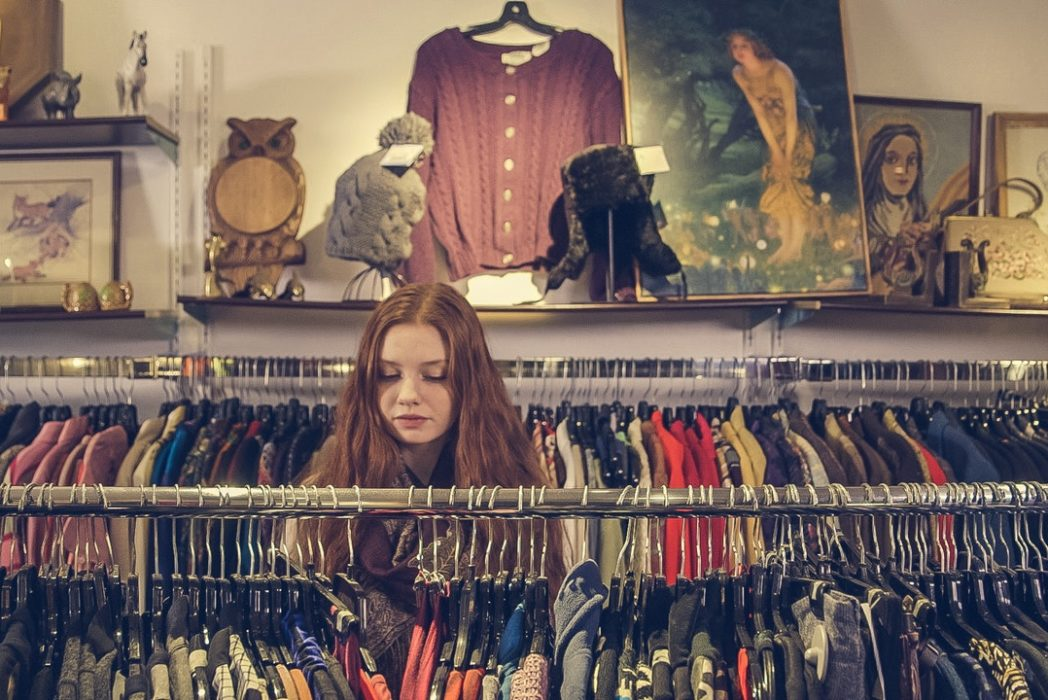 woman in charity shop