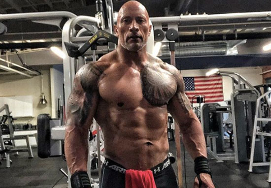 Dwayne 'The Rock' Johnson no shirt