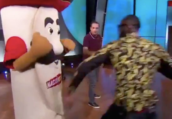 Deontay Wilder punches mascot in face
