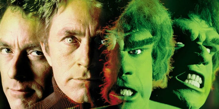 Bill Bixy and Lou Ferigno as Bruce Banner and the Hulk