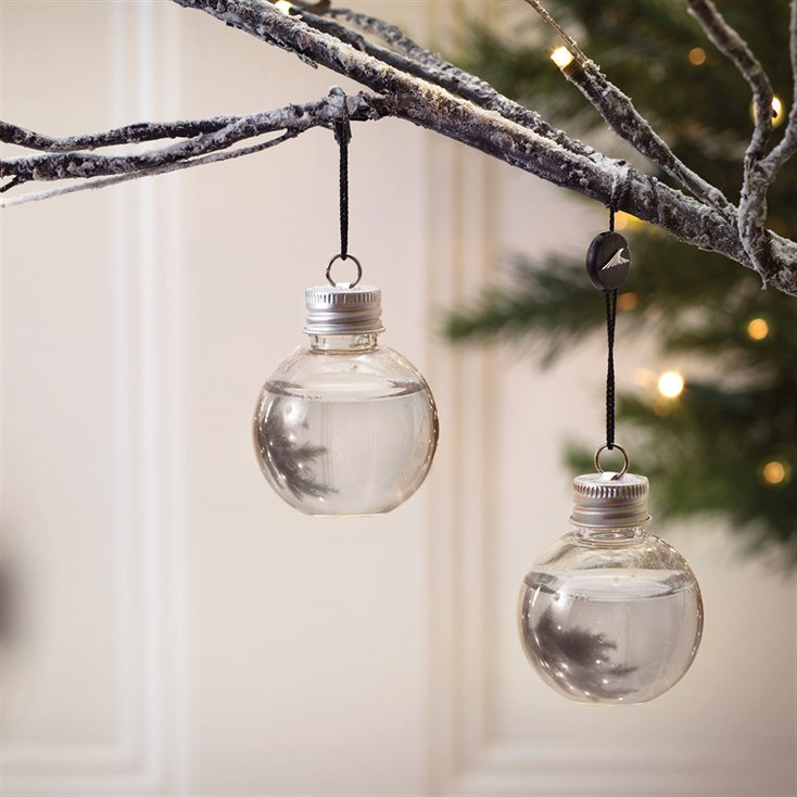 Gin Baubles hang on tree