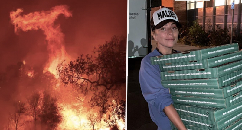 Lady Gaga Surprises Evacuation Centre With Pizza And Coffee