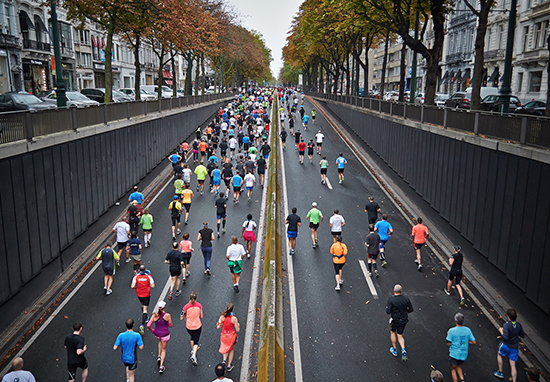 People running a marathon