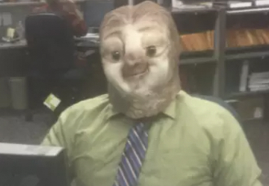 DMV employee dresses up as a sloth for Halloween.