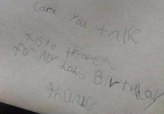 Boy writes letter to his dad in heaven